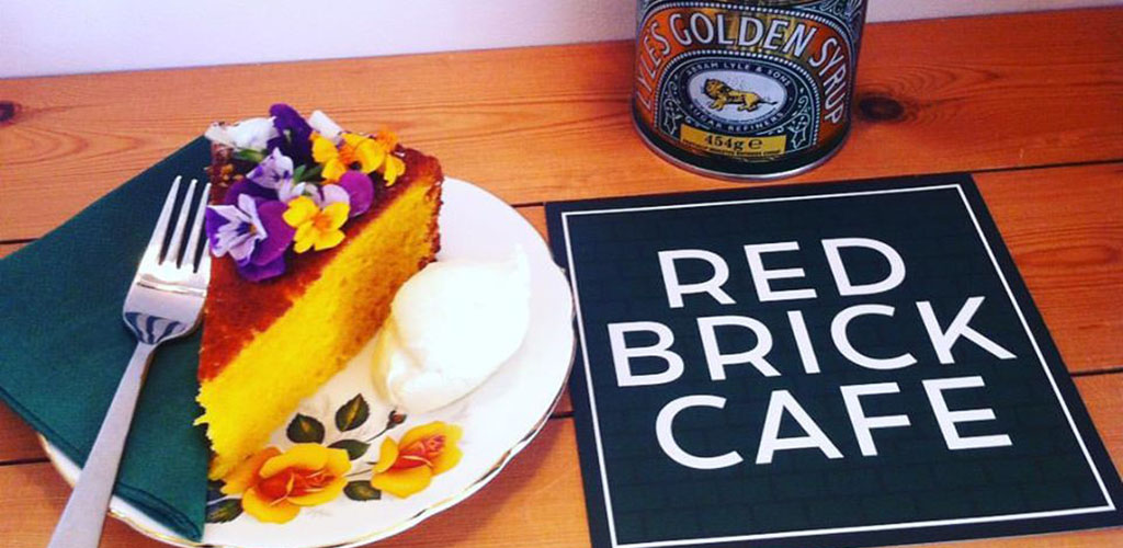 A floral cheesecake from Red Brick Cafe