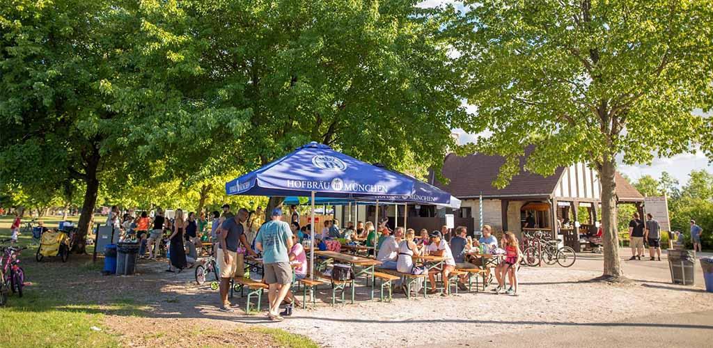 The outdoor area of Estabrook Beer Garden