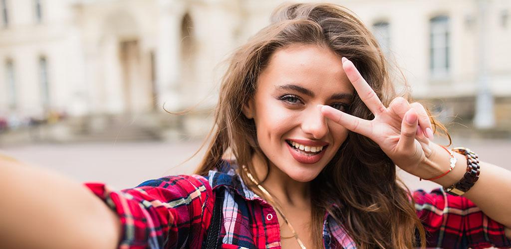 A beautiful Portland girl taking a selfie