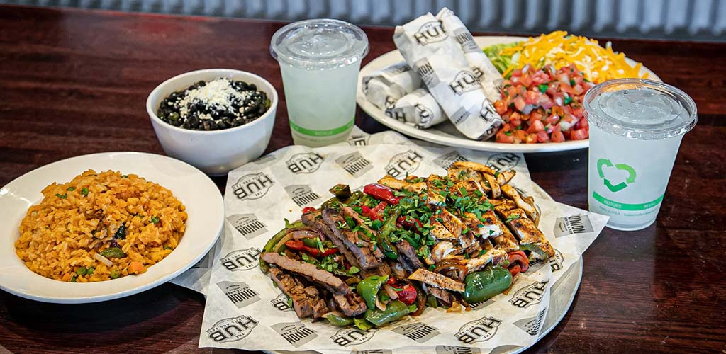 Carnitas, burritos and rice from Hub Grill and Bar