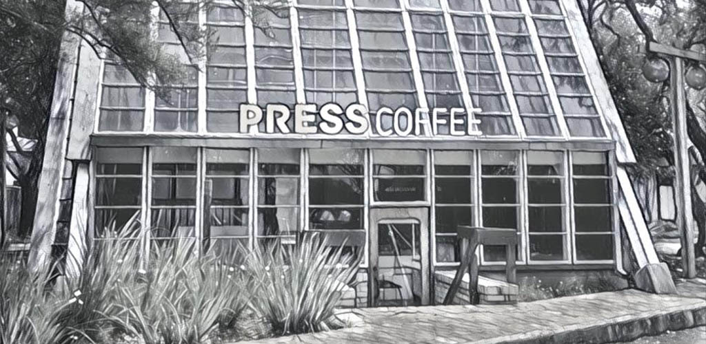 The all-glass facade of PRESS Coffee