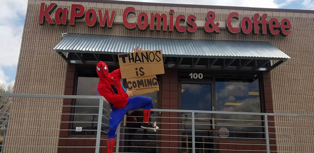 Kapow Comics and Coffee storefront with Spiderman