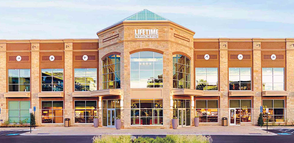 The regal exterior of Life Time Fitness