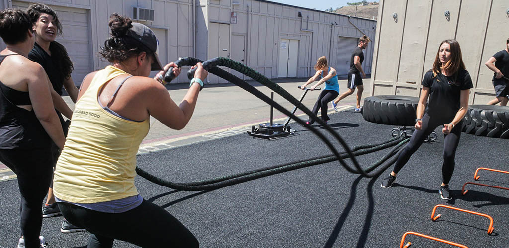 Women doing rope exercises at San Diego Fitness