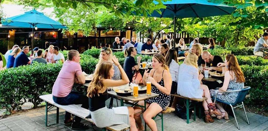 The patio of Pharmacy Burger Parlor and Beer Garden