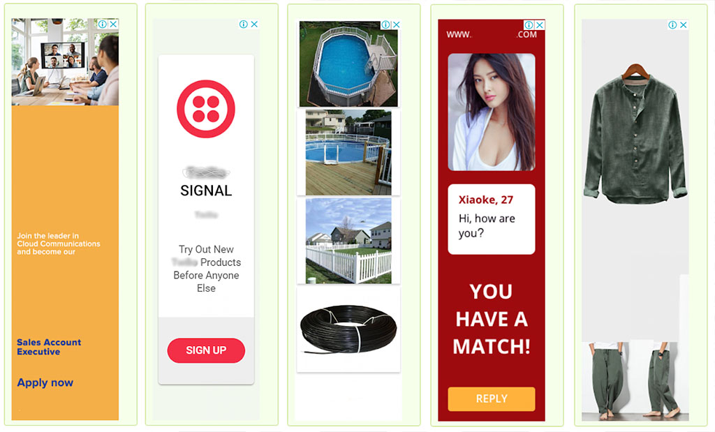 Vertical banner ads from the site