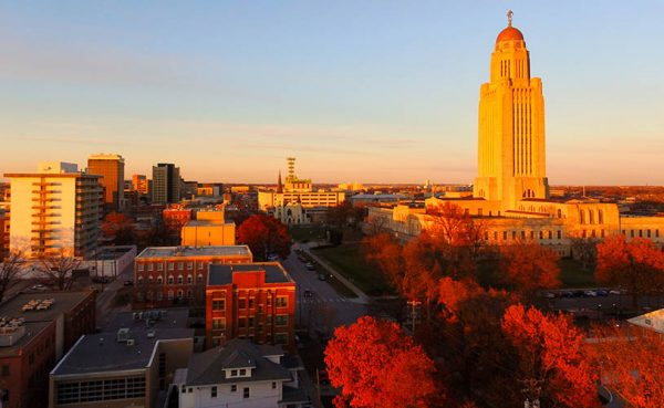 Lincoln Nebraska during a fall sunset