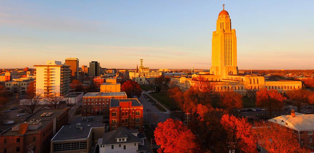 Lincoln Nebraska during a fall sunset