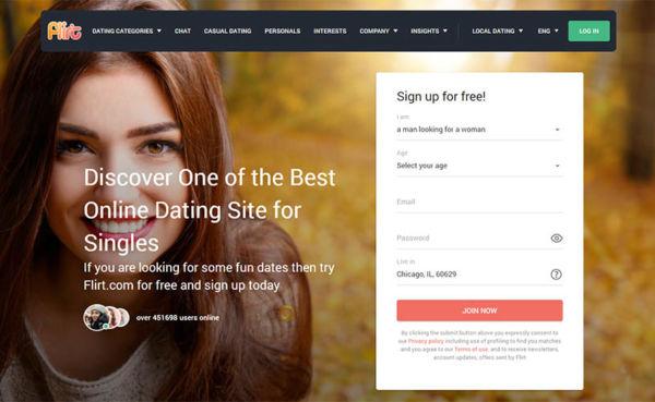 Flirt.com landing page