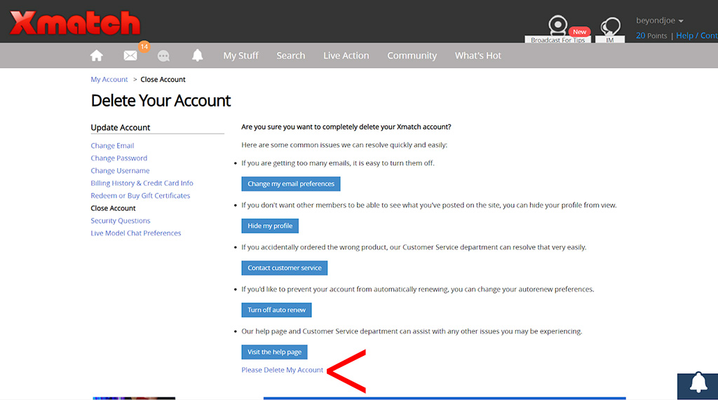 How to delete your account 2