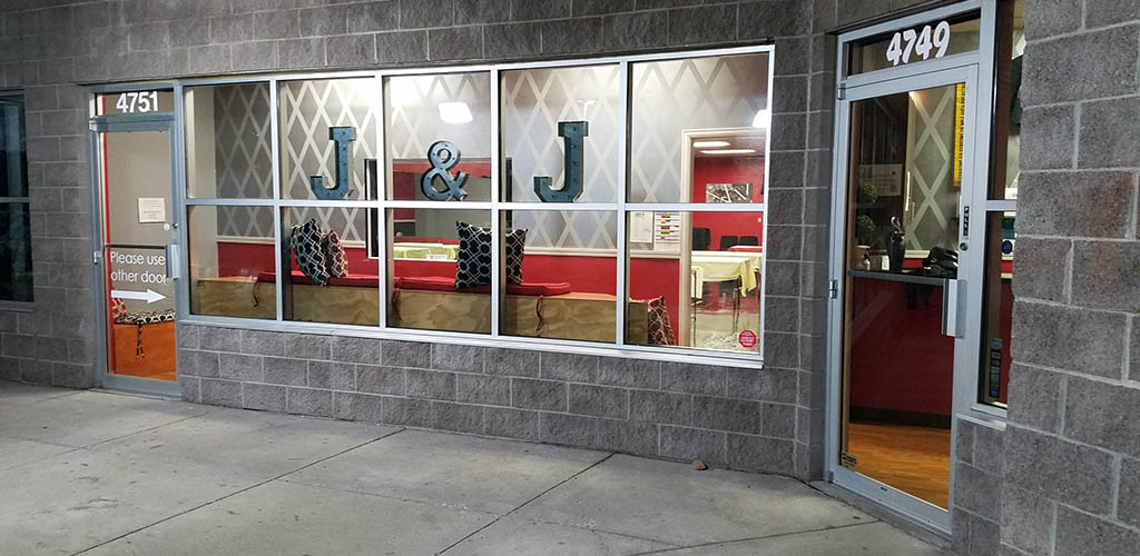 The entrance to J and J Hip Hop Dance Company
