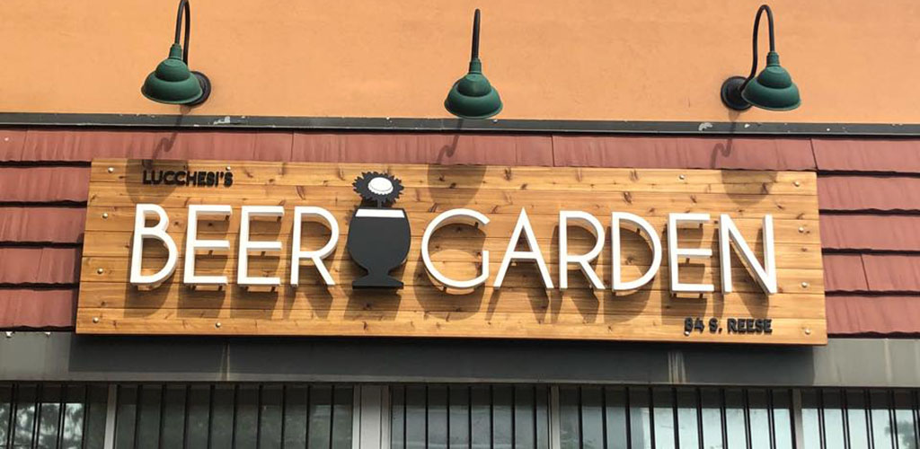 The sign of Lucchesi's Beer Garden