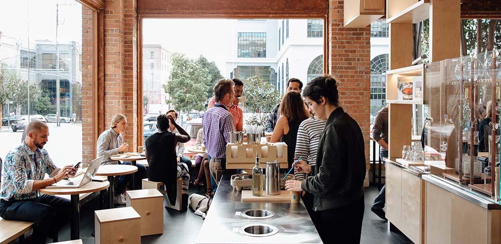 Regular patrons at Blue Bottle Coffee