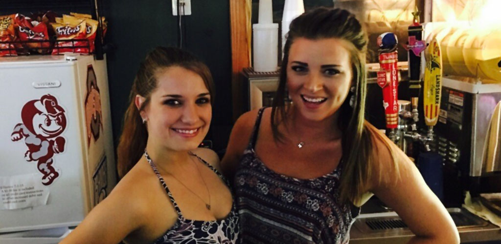 The beautiful bartenders at Dewey's Beer Garden
