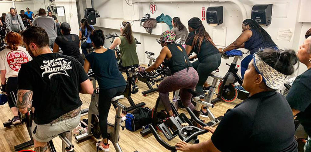 A cycling class at Fit Gym