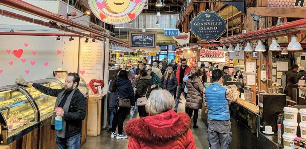 A busy day at the Public Market of Granville Island