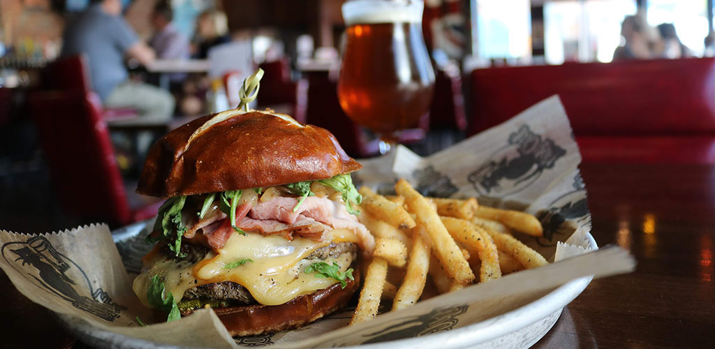 A burger and fries from Hopcat