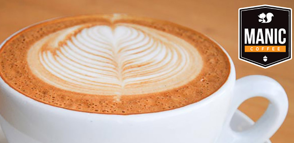 A latte from Manic Coffee