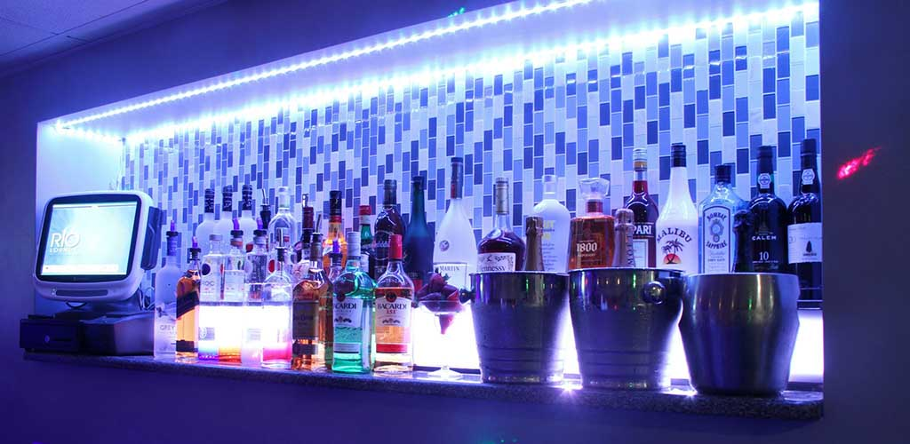 The shelf of drinks at Rio Lounge