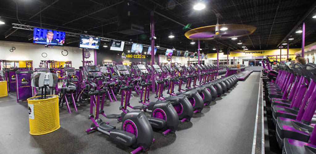 The many stationary bikes at Planet Fitness