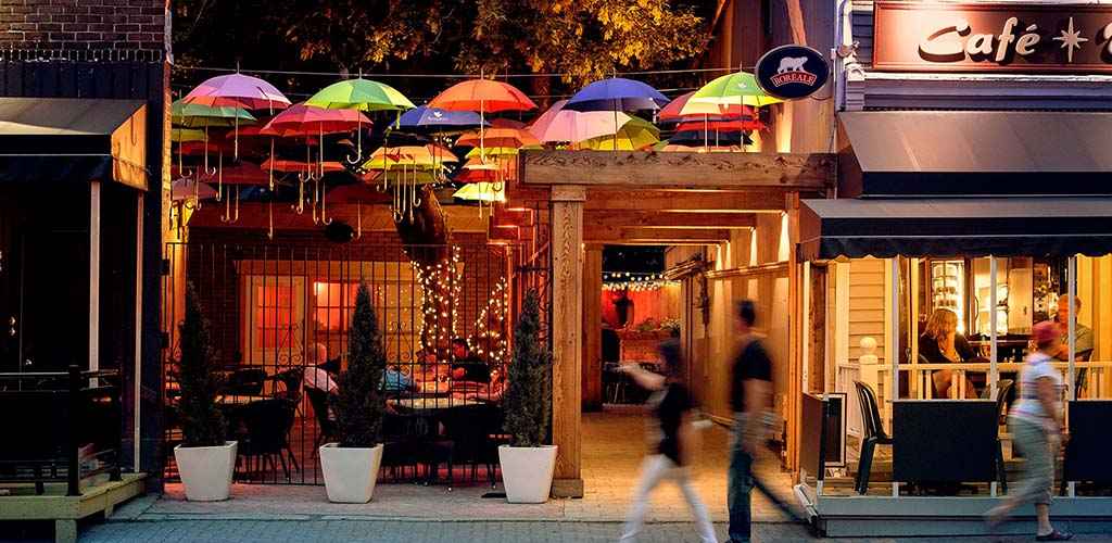 The quirky exterior of Cafe Terrasse and Bungalow Bar Salon