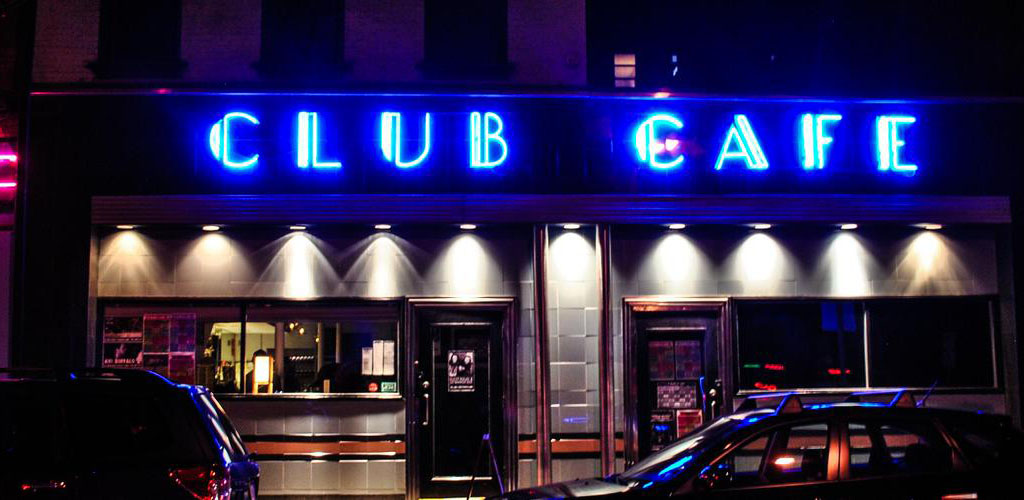 Exterior of Club Cafe at night