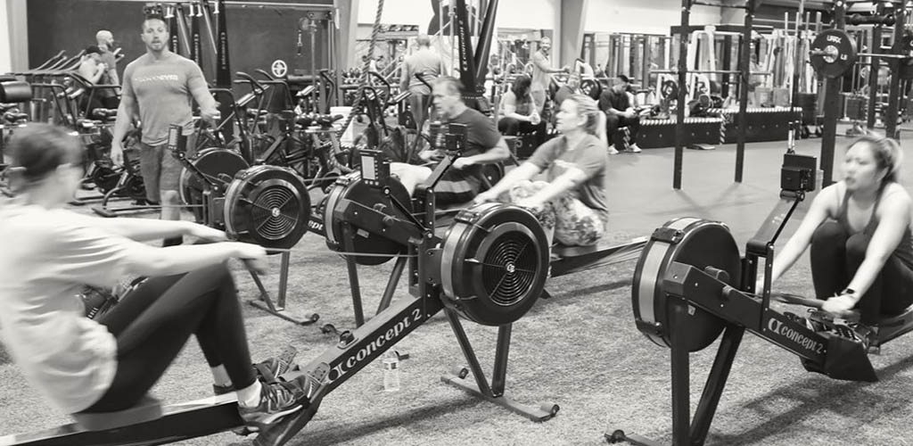 Fitness-minded members at the rowing machines of Protogym