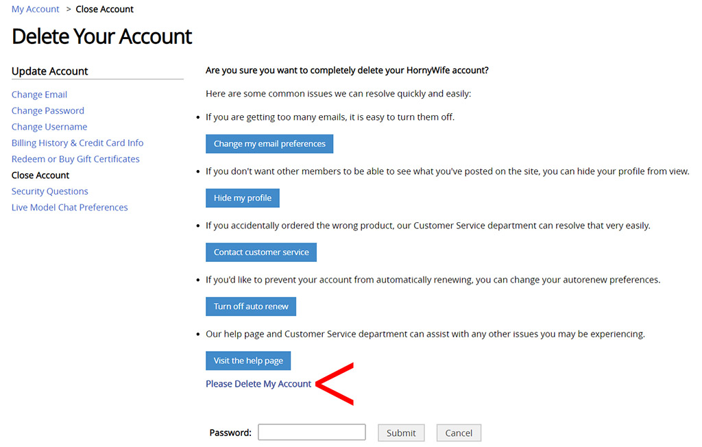 Password required to delete your account