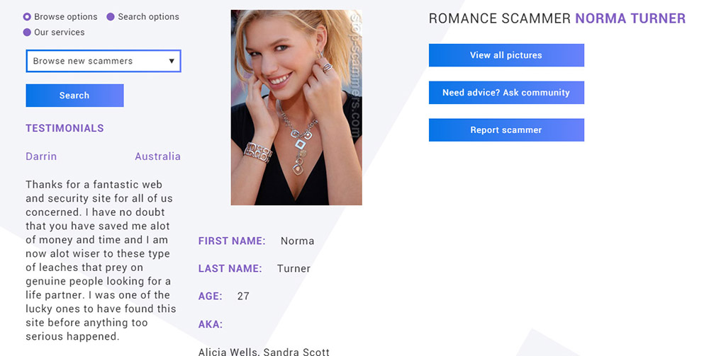 Her photo is on TinEye with people complaining that she's a scammer