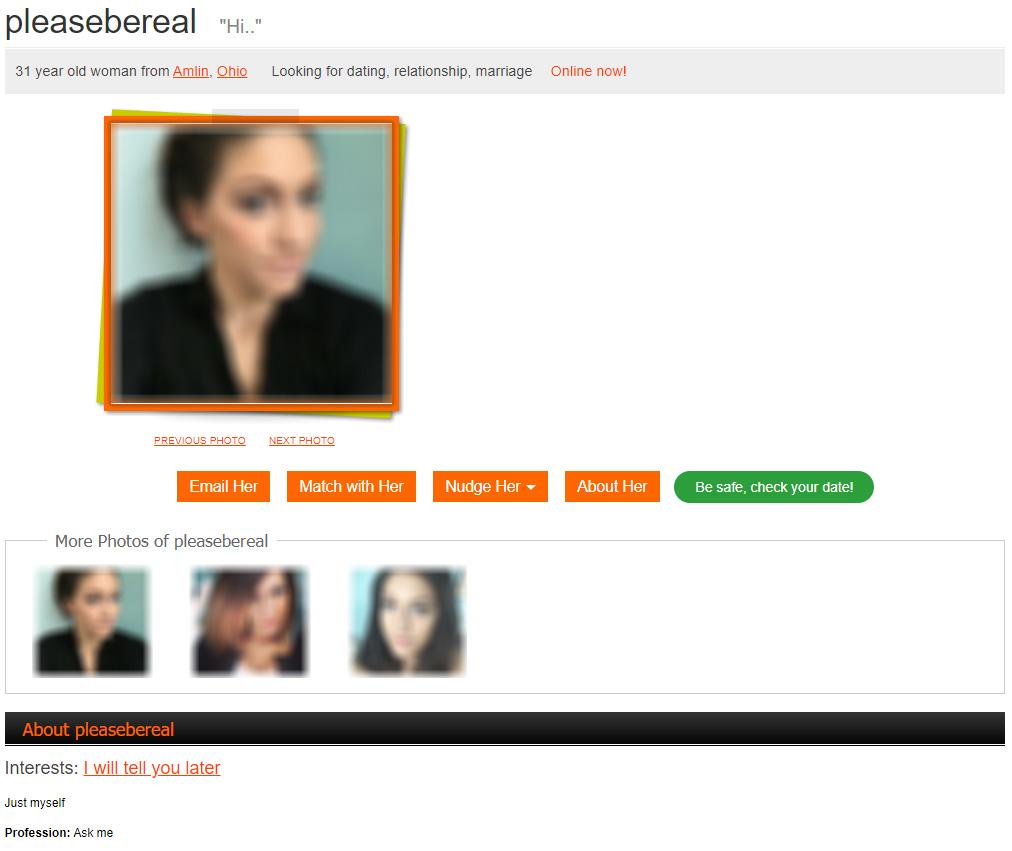 A user profile that looks legit