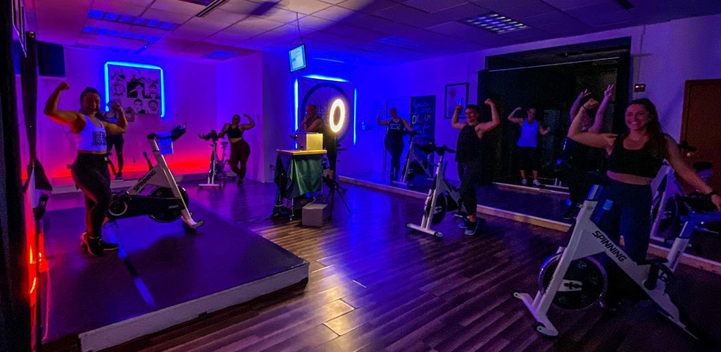 A spin class at F and H Fitness Studio