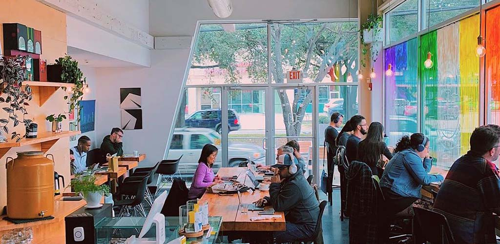 Inside Inversion Coffee on a busy day