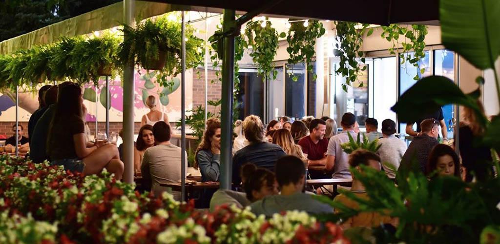 The breezy patio of Marin Urban Beer Garden