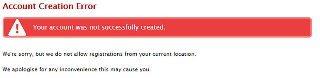 Account creation error