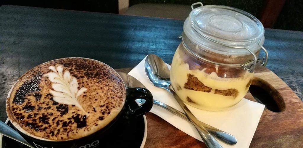 Latte art and a mason jar dessert from Betty Blue and the Lemon Tart