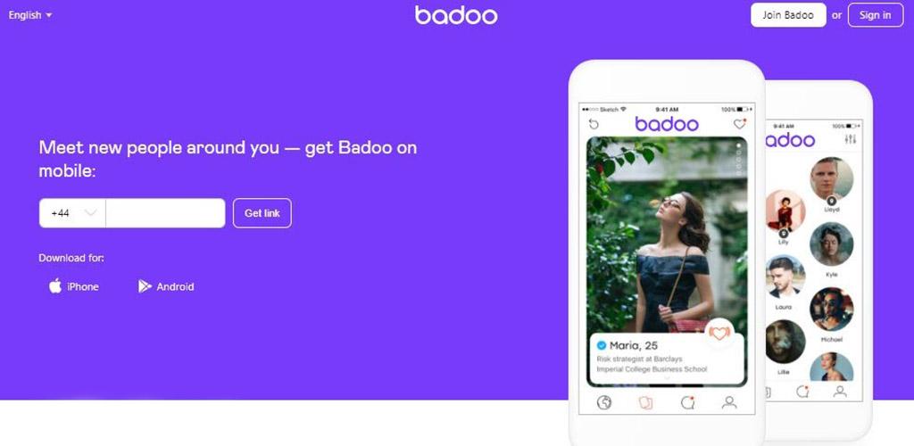Badoo landing page