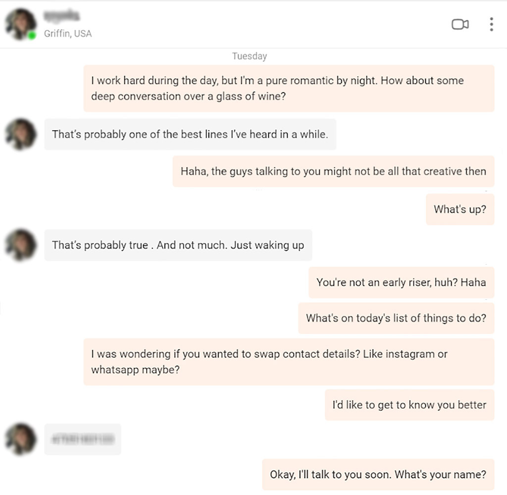 Conversation with a real person