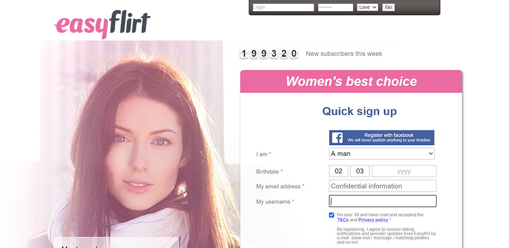 Easy Flirt review login page