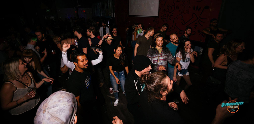The dark and crowded dancefloor of FOOTW3RK Dance Club