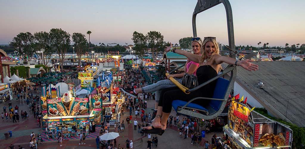Santa Ana girls on a ride at the Orange County Fair