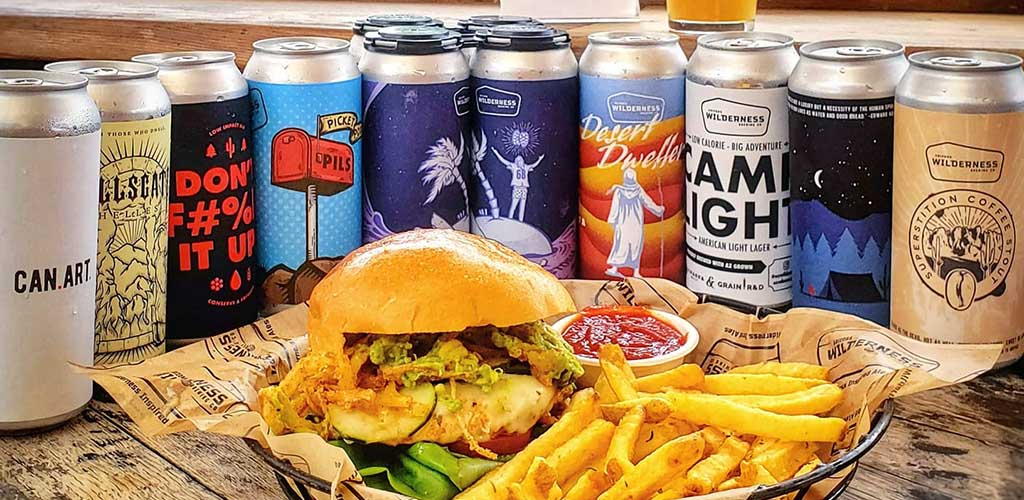 Beers, a burger and fries from Arizona Wilderness Brewing Co