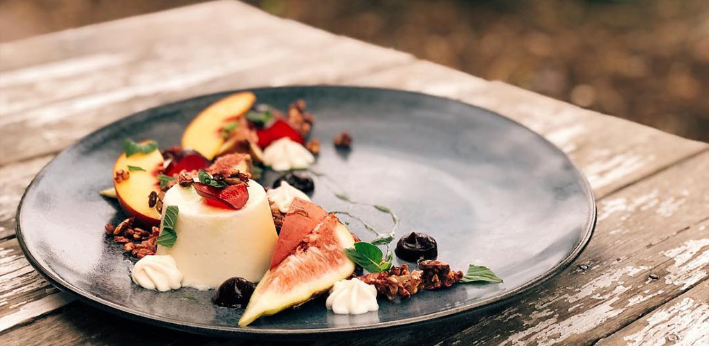 An elaborately plated panna cotta from Penny University