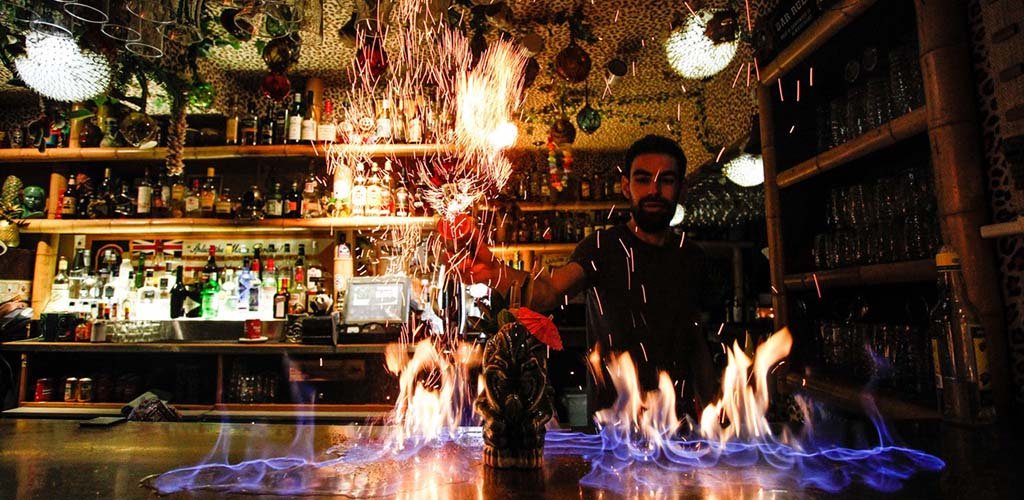 Flaming cocktails from Tiki Bar