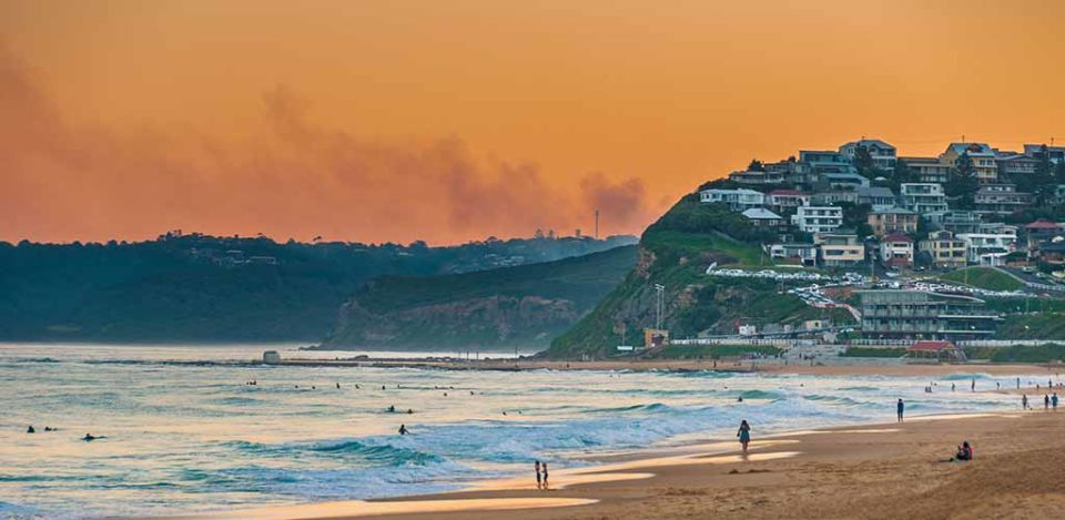 Newcastle Beach Australia at sunset. Newcastle is Australia's second oldest city.