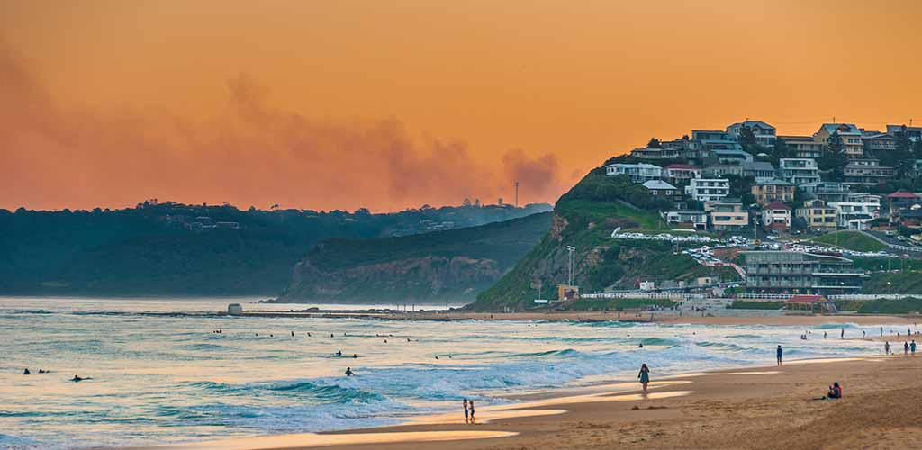 Newcastle Beach Australia at sunset. Newcastle is Australia's second oldest city.
