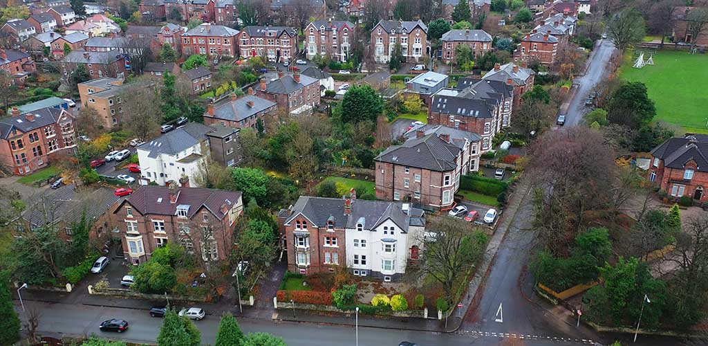 Aerial shot of Birkenhead, Wirral