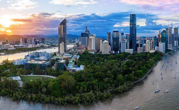 Panorama of Brisbane skyline at sunset