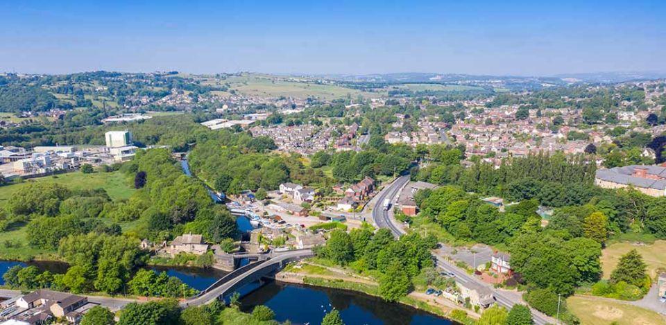 Aerial drone photo of the beautiful town of Mirfield in Kirklees
