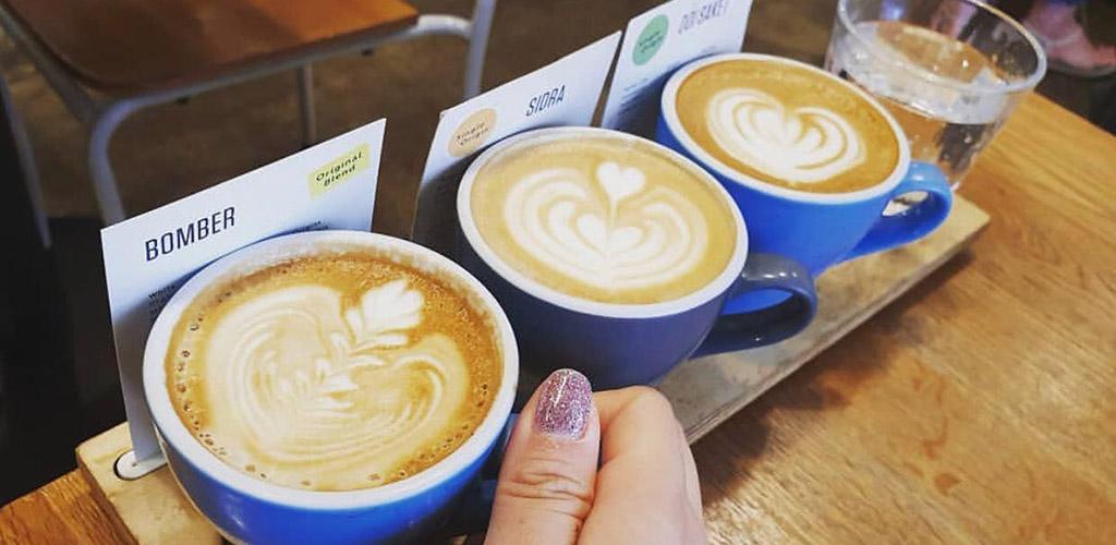 Lattes from Flight Coffee Hangar