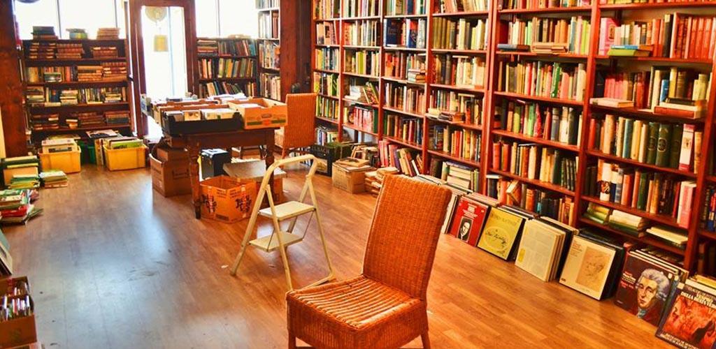 The cozy reading area of Henry Bohn Books